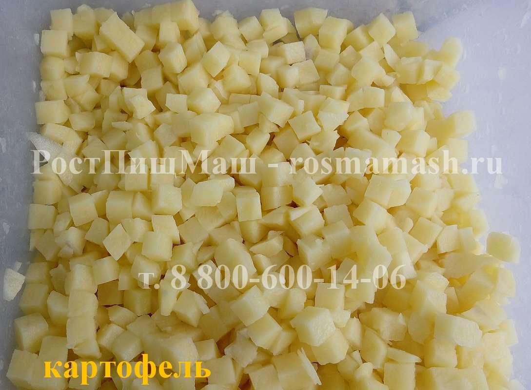 Нарезка кубиком картофеля на Машине для резки CHD-100