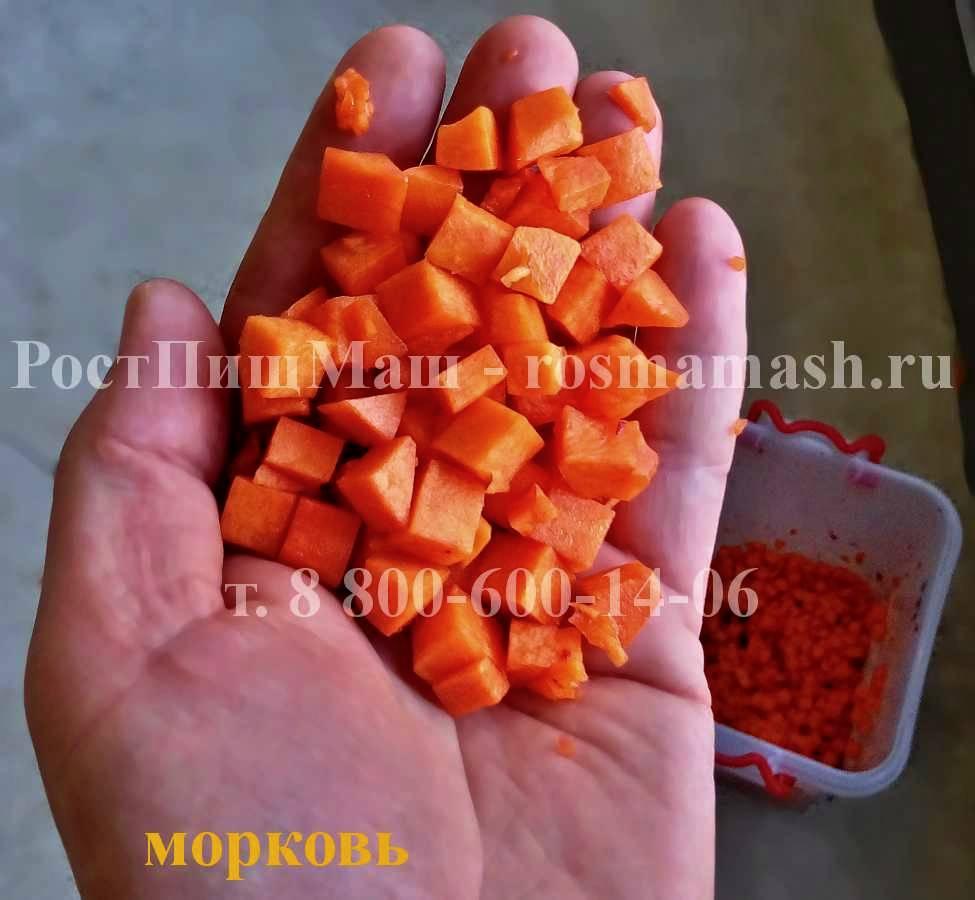 Нарезка кубиком  моркови на Машине для резки CHD-100