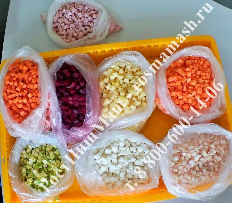 Нарезка кубиком овощей и вареной колбасы на Машине для резки CHD-100