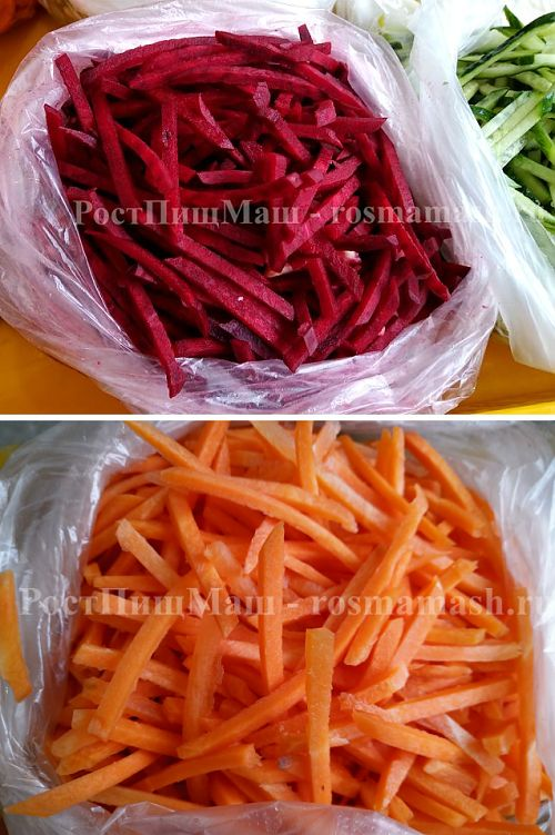 Нарезка соломкой свеклы и моркови  на Машине CHD-100
