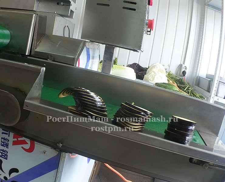 Шинковкабаклажана кольцами на Ленточной овощерезке RY-80