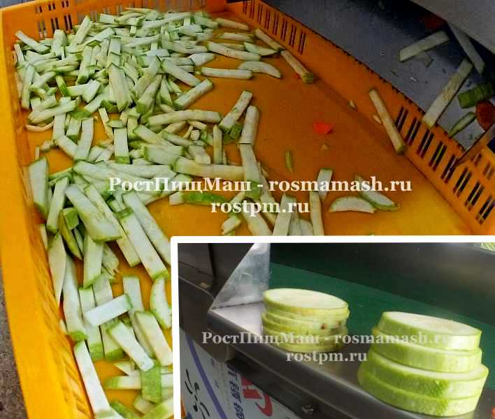 Шинковка кабачков кольцами и соломкой на Ленточной овощерезке RY-80