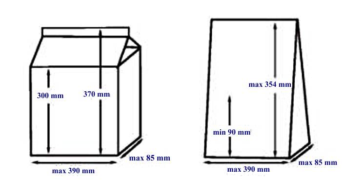 Размеры тары для HVV-410T/1A